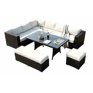 Ecosunny Rattan Garden Furniture Andrew 9 seater Corner Sofa Dining Table Set with Bench, Stool and Raincover