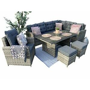 SORRENTO Rattan 8 Seater Corner Sofa Set with Dining Table