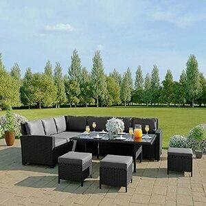 Abreo 9 Seater Corner Rattan Dining Set Garden Sofa Furniture Black/Brown