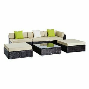 Outsunny 6 PC Rattan Sofa Coffee Table Set  w/Brown Pillow Cushions