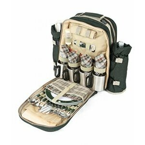 Greenfield Collection Forest Green Picnic Backpack Hamper for Four People
