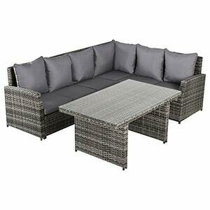 Outsunny 3 piece Outdoor Patio Dining Table Set Grey