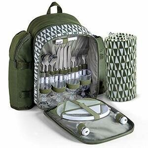 VonShef 4 Person Picnic Backpack with Insulated Cooler Compartment - Green