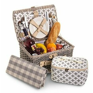 Fineway. 4 Person Traditional Picnic Wicker Hamper Willow Basket (Rectangle Design)