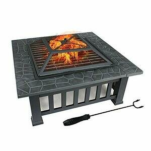 DAWOO Fire Pit with BBQ Grill Shelf