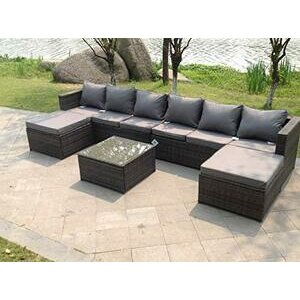 Fimous Outdoor Rattan Corner Sofa Set Coffee