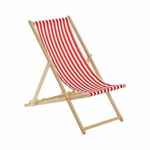 Harbour Housewares Traditional Deck Chair - Red/White Stripe