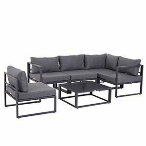 Outsunny 6 PCs Outdoor/Indoor Sectional Corner Sofa Set Grey