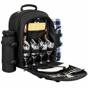Sunflora Picnic Backpack for 4 With Blanket (Black)
