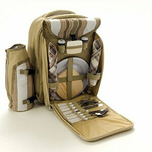 Deluxe Striped Picnic Backpack for Two People