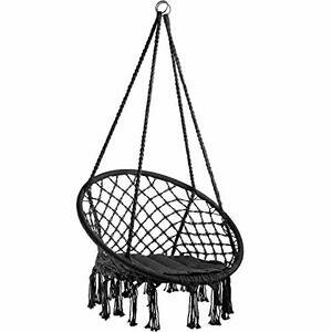 TecTake 800689 - Hanging Chair, Hammock with Seat Cover (Black)