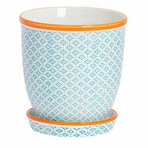 Nicola Spring Hand-Printed Plant Pot with Saucer