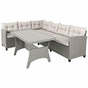 Deuba Poly Rattan Corner Sofa/Outdoor Garden Furniture with Table (Cream)