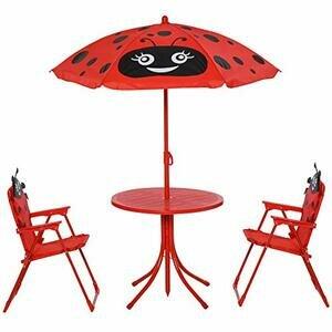 HOMCOM Kids Garden Picnic Table Chair with UV Umbrella