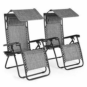 VonHaus 2 Textoline Zero Gravity Chairs with Canopy