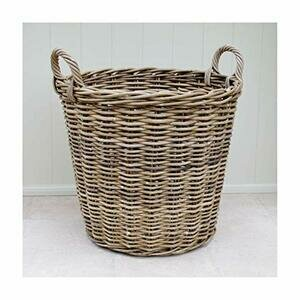 Large Rattan Wicker Log Basket With Handles