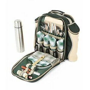 Greenfield Collection Picnic Backpack Hamper for Four in Forest Green - Fitted Backpack Range
