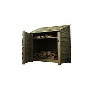Wooden Log Store With Door and Kindling Shelf 4Ft - Light Green