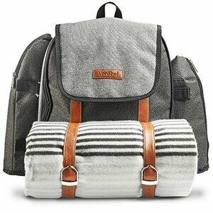VonShef Ash 4 Person Picnic Backpack Bag With Blanket