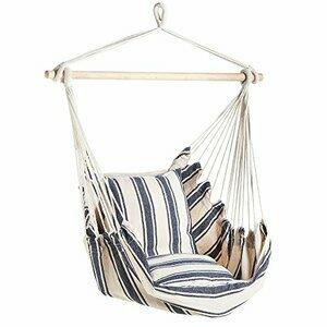 VonHaus Striped Swinging Hammock Chair with Cushioned Seat