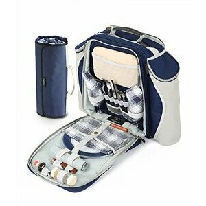 Greenfield Collection Navy Blue Backpack Hamper for Two People with Matching Picnic Blanket