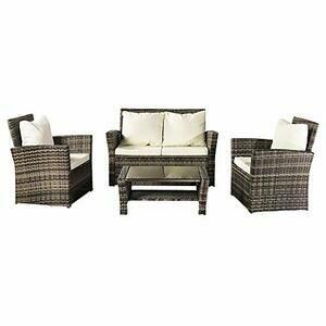 Bonnlo Outdoor Garden 4 Pieces Rattan Furniture Set Patio (Grey)