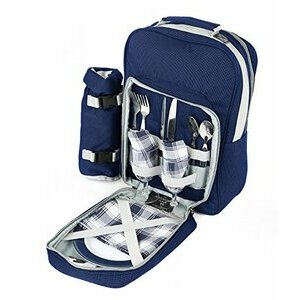 Greenfield Collection Luxury Navy Blue Picnic Backpack Hamper for Two