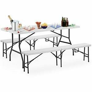 Deuba Folding Trestle Table Bench Set (For 6)
