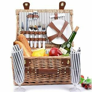 SatisInside UPGRADED INSULATED Deluxe 16Pcs Kit Wicker Picnic Basket Set For 2 People - Reinforced Handle - Grey Stripes