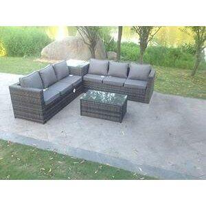 Fimous 6 Seater Grey Rattan Corner Sofa Set