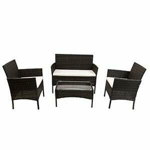 Rattan Furniture Set for Outdoor Garden Indoor (Black)