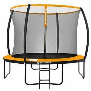 SONGMICS Garden Trampoline, 10ft Round Trampoline with Safety Net (Black and Orange)