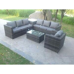 Fimous 7 Seater Grey Rattan Sofa Set With Coffee Table