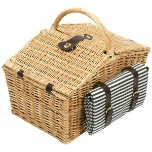 Greenfield Collection Willow Basket with Matching Blanket 4 Person