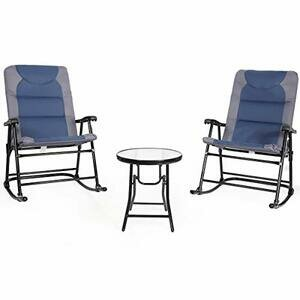COSTWAY Rocking Chairs & Table Set (Blue/Grey)
