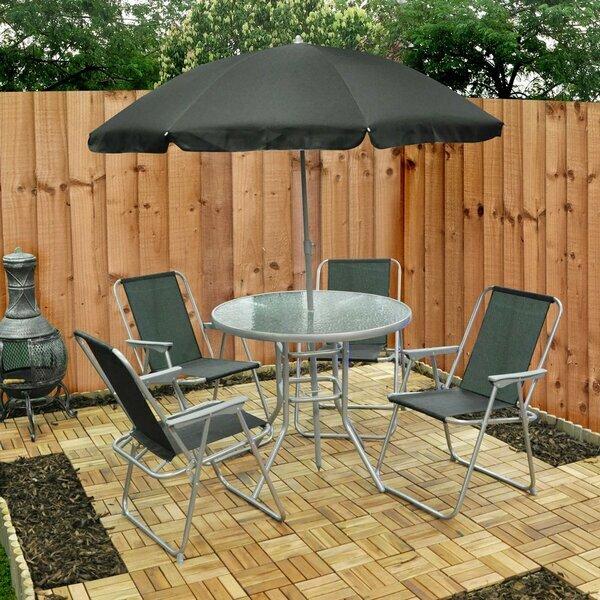 Garden Table, Chair & Umbrella Set - Six Piece