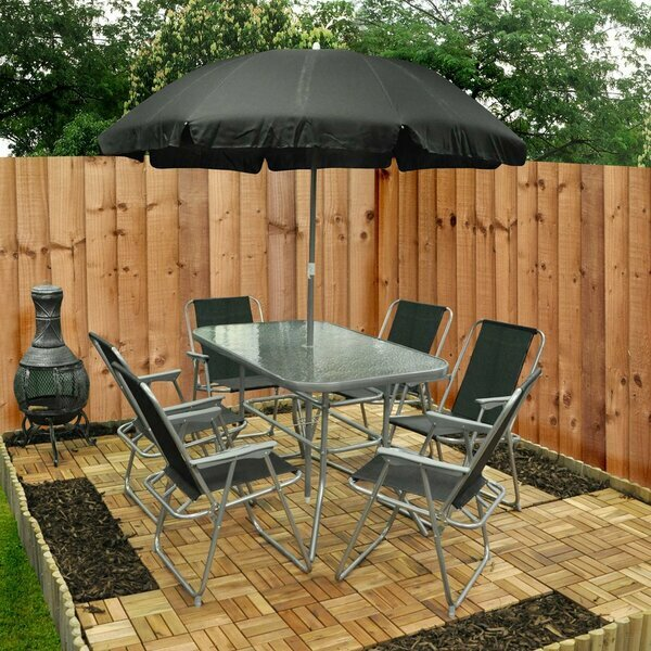 Garden Table, Chair & Umbrella Set - Eight Piece
