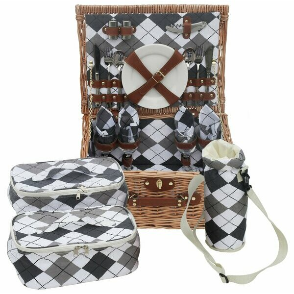 Traditional Premium Wicker Picnic Basket for 6 people