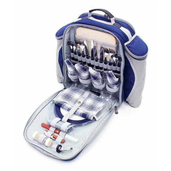 Midnight Blue Greenfield Collection Picnic Backpack for 4 people