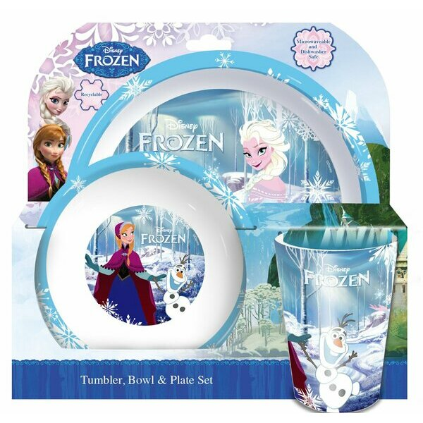 3-piece Frozen tumbler, bowl and plate set