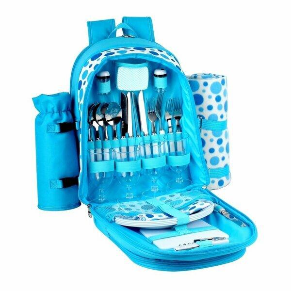 Confidence Bright Blue Polkadot Picnic Backpack
